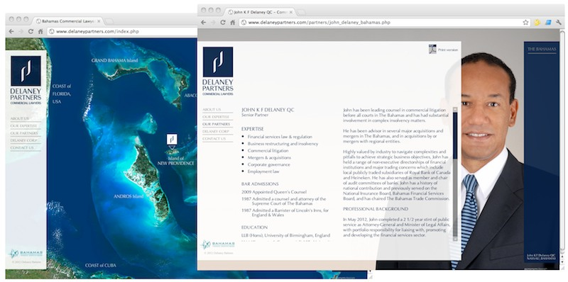 Web development for Delaney Partners Commercial Lawyers - The Bahamas